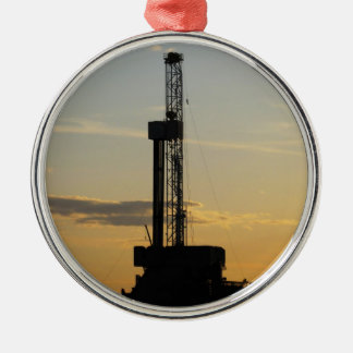 Drilling Rig Silhouette Christmas Ornament