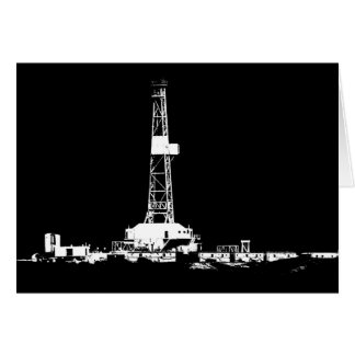 Drilling Rig Silhouette in the Bakken Greeting Card