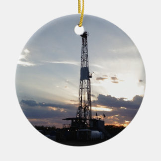 Drilling Rig Sunset Christmas Ornament