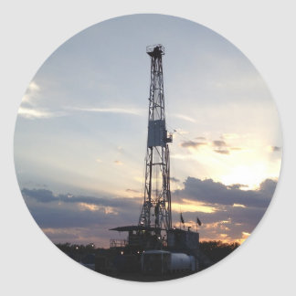 Drilling Rig Sunset Round Sticker