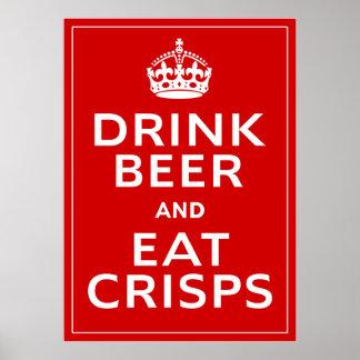 Drink Beer and Eat Crisps ~ British Fun Beer Poster