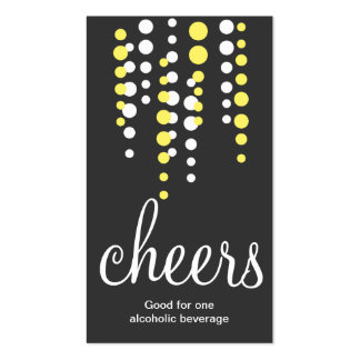 Drink bubbles cheers cocktail beverage ticket gray Double-Sided standard business cards (Pack of 100)