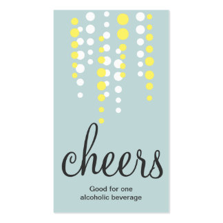Drink bubbles cheers cocktail beverage ticket teal pack of standard business cards