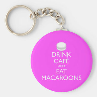 DRINK CAFE AND EAT MACAROONS BASIC ROUND BUTTON KEY RING