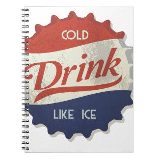 Drink Ice Cold Cola Bottle Cap Spiral Notebooks