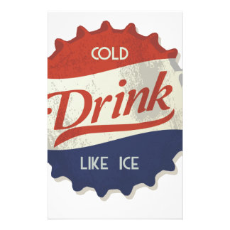 Drink Ice Cold Cola Bottle Cap Stationery Paper