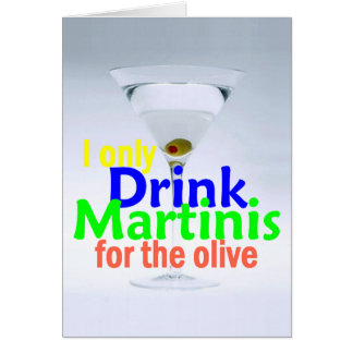 Drink MARTINIS Olives Gin Vodka Card