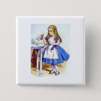 """""""Drink Me"""" Potion with Alice 15 Cm Square Badge"""