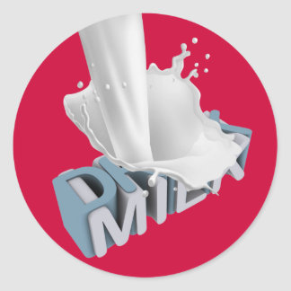 Drink Milk! 3D Classic Round Sticker