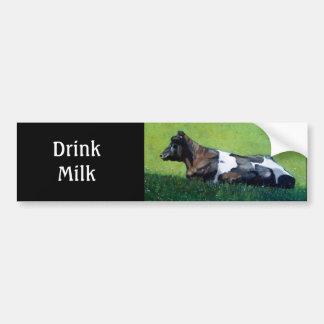 """""""Drink Milk"""": Holstein Cow in Oil Pastel: Dairy Bumper Sticker"""