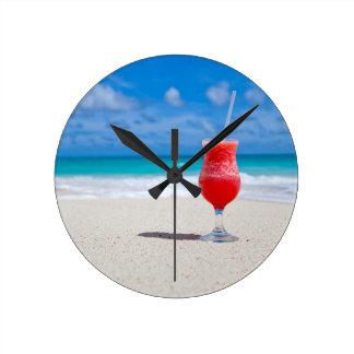 Drink On Beach wall clock