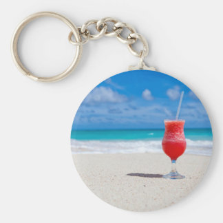 Drink on the Beach Basic Round Button Key Ring