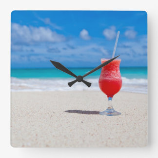 Drink on the Beach Square Wall Clock
