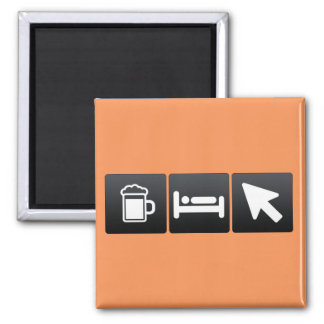Drink, Sleep and Arrows 2 Inch Square Magnet