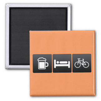 Drink, Sleep and Bicycles Square Magnet