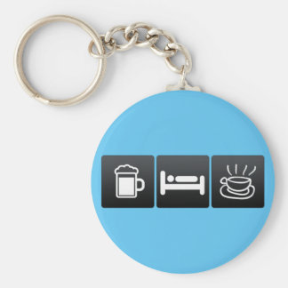 Drink, Sleep and Caffe Latte Basic Round Button Key Ring