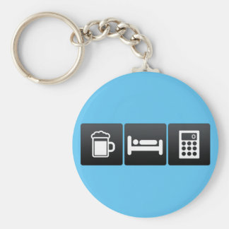 Drink, Sleep and Calculating Devices Basic Round Button Key Ring