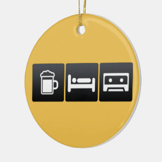 Drink, Sleep and Cassette Players Round Ceramic Decoration