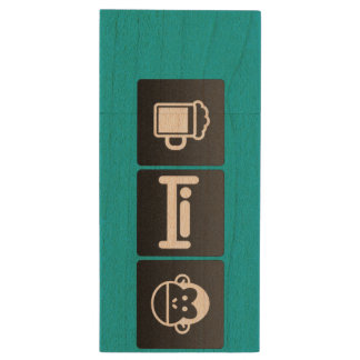 Drink, Sleep and Chimps Wood USB 2.0 Flash Drive