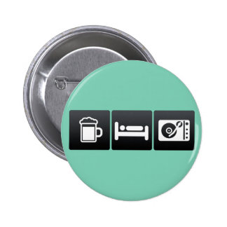 Drink, Sleep and Compact Record Player 6 Cm Round Badge