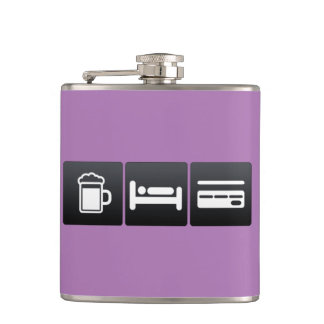 Drink, Sleep and Credit Cards Hip Flask