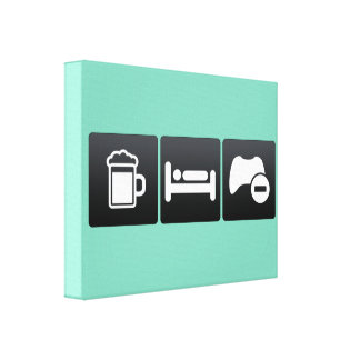 Drink, Sleep and Game Controls Stretched Canvas Print