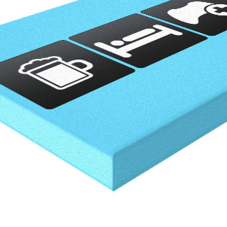 Drink, Sleep and Gaming Controllers Stretched Canvas Print