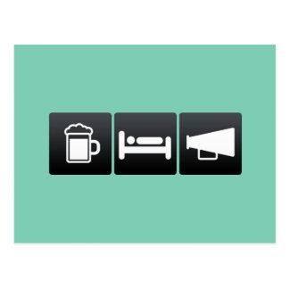 Drink, Sleep and Megaphones Postcard