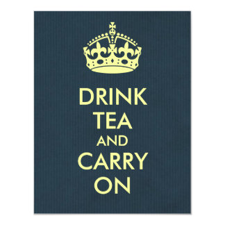 Drink Tea and Carry On Blue Natural Kraft Paper Card