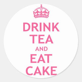 Drink Tea and Eat Cake Round Sticker