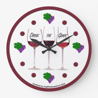 Drink the Grape with Grape Clusters Wallclock