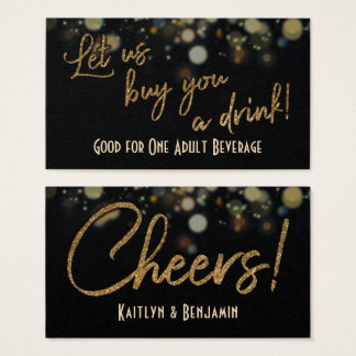 Drink Tickets, Gold Glitter on Black & Gold Bokeh Business Card