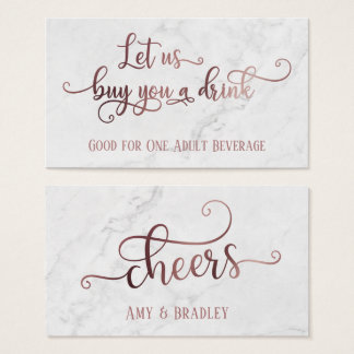 Drink Tickets | Rose Gold Script with White Marble