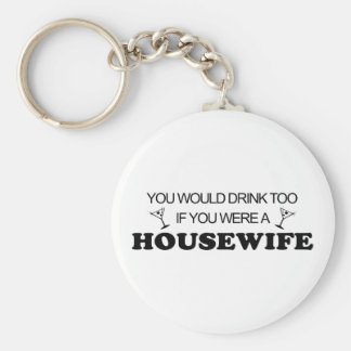 Drink Too - Housewife Basic Round Button Key Ring