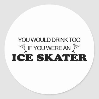 Drink Too - Ice Skater Round Stickers