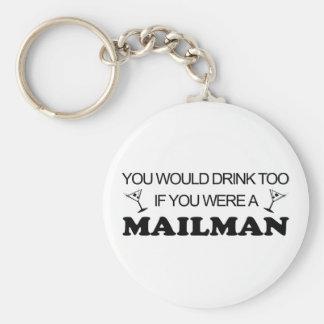 Drink Too - Mailman Basic Round Button Key Ring
