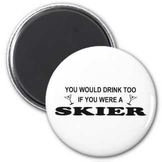 Drink Too - Skier Magnets