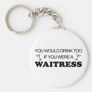 Drink Too - Waitress Basic Round Button Key Ring