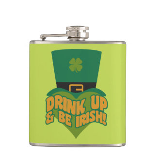 """Drink Up & Be Irish!"" custom flask"