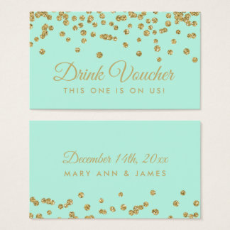 Drink Voucher Gold Faux Glitter Confetti Mint Business Card