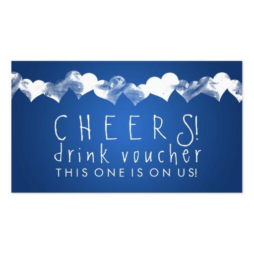 Drink Voucher Grunge Hearts Blue Business Card