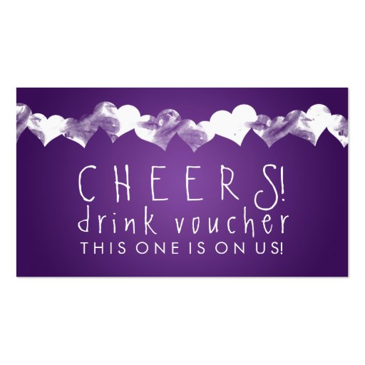 Drink Voucher Grunge Hearts Purple Business Card