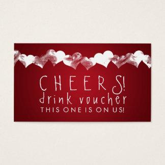 Drink Voucher Grunge Hearts Red