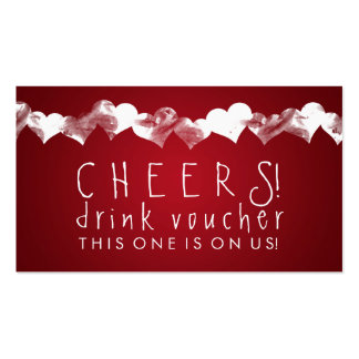 Drink Voucher Grunge Hearts Red Pack Of Standard Business Cards