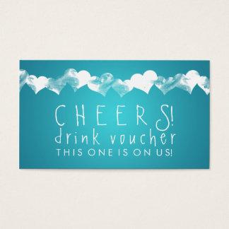 Drink Voucher Grunge Hearts Turquoise