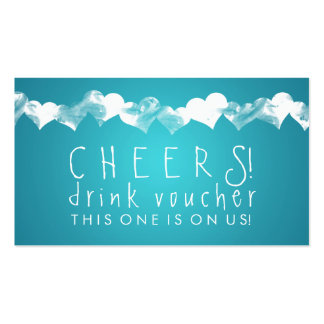 Drink Voucher Grunge Hearts Turquoise Pack Of Standard Business Cards