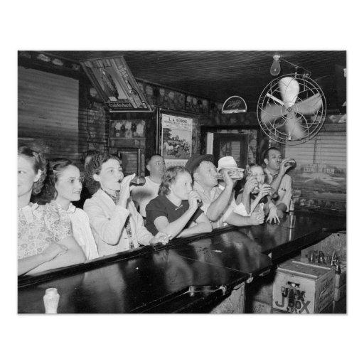 Drinking at a Louisiana Bar, 1938. Vintage Photo