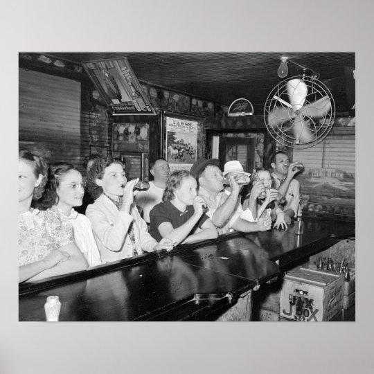 Drinking at a Louisiana Bar, 1938. Vintage Photo