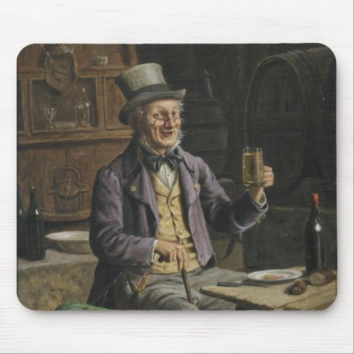 Drinking Beer Painting Mousepad