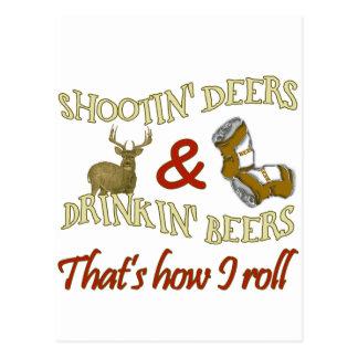 Drinking Beer Shooting Deer Post Cards